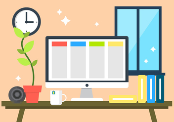 Flat Desk Illustration - Free vector #396561
