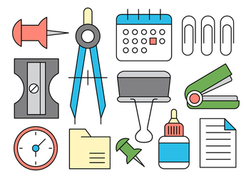 Office Supplies Vector Icons - бесплатный vector #396591