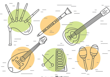 Traditional Music Instrument Outline Vector - vector #396691 gratis
