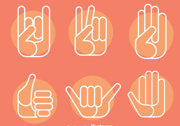 Hand Gestures Icons Vector - Free vector #396741
