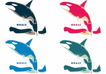 Popart Colorful Whale Vectors - Free vector #396791