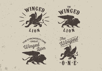 Winged lion old vintage label style lettering vector pack - vector gratuit #396871