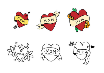 Mom Tattoo Doodle Set - Free vector #397181