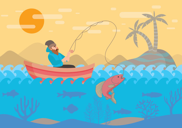 Fly Fishing with Boat Vector - Free vector #397311