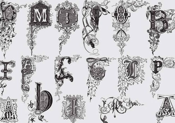 Capital Letters With Acanthus Decor - Free vector #397411