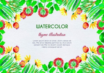 Watercolor Herb and Flower Framed Background - vector gratuit #398201