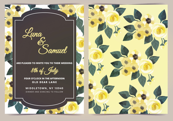Vector Lemon Yellow Flower Wedding Invite - vector gratuit #398281