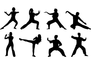 Silhouette Of Tai Chi Women Vector - Free vector #398431
