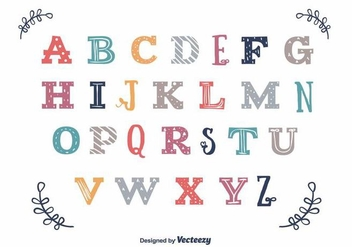 Colorful Vintage Alphabet Vector - vector #398471 gratis
