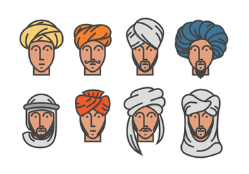 Men in Turban Vectors - vector gratuit #398541
