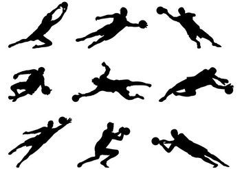 Set Of Goal Keeper Silhouettes - бесплатный vector #398721