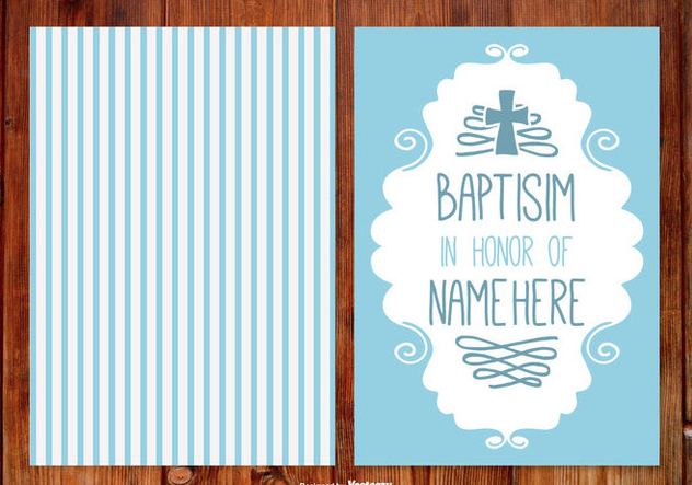 Stripe Baptisim Card for Boy - vector gratuit #398741