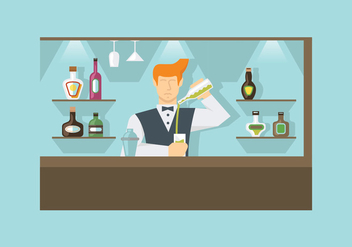Barman at Work Vectors - vector #398861 gratis