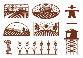 Rice Field Vectors - vector gratuit #398941