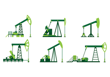 Green Oil Pump Vector - vector gratuit #398981