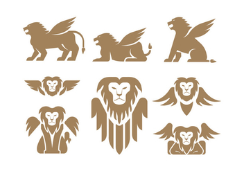 Winged Lion Vectors - бесплатный vector #399041