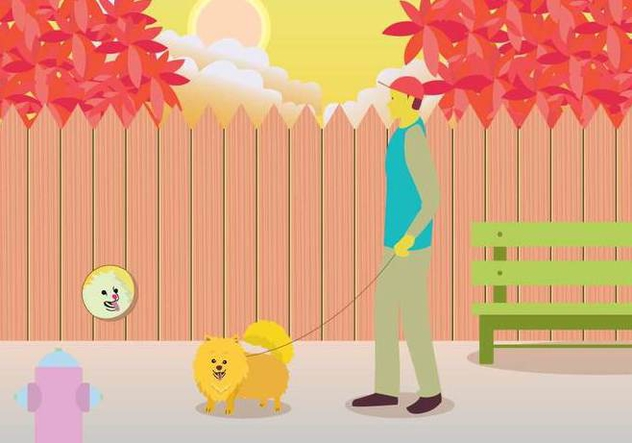 Owner Walking Pomeranian Illustration - бесплатный vector #399061