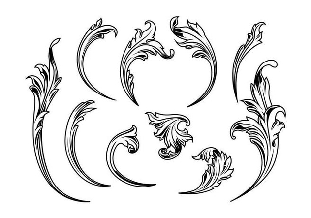 Etched Acanthus Vectors - Free vector #399161