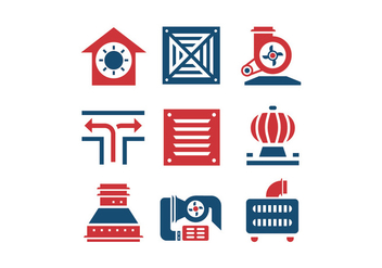 Air conditioning and air compressor vector icons - Free vector #399251