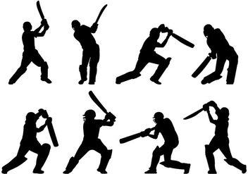 Silhouette Of Cricket Players - Kostenloses vector #399321