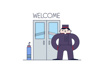 Free Door Man Vector - Free vector #399331