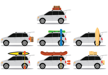 Car With Baggage - vector gratuit #399391