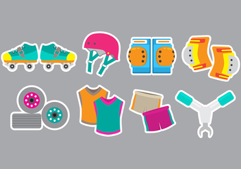 Roller Derby Icons - Free vector #399421