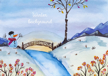 Free Vector Watercolor Christmas Landscape - бесплатный vector #399611