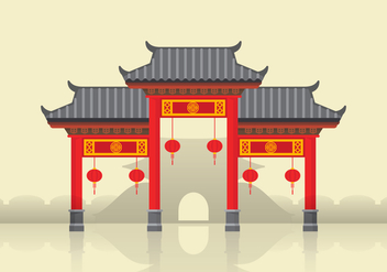 China Town Illustration - vector #399631 gratis