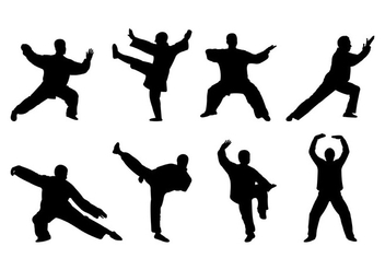 Vector Of Tai Chi Silhouettes - бесплатный vector #399851