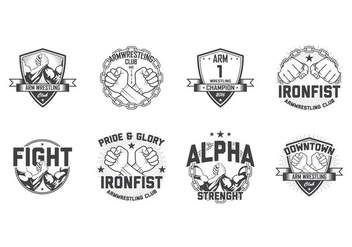 Free Arm Wrestling Badge Vector - Free vector #399861