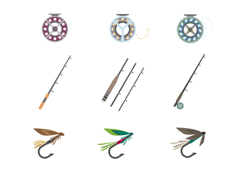 Fly Fishing Tools Vector - Free vector #400151