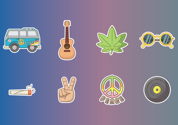Free Hippie Stickers Vector - бесплатный vector #400161