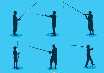 Man Fishing Silhouette Vector - Free vector #400311