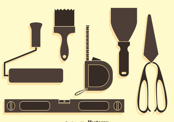Home Construction Tools Silhouette Vector Set - Free vector #400321