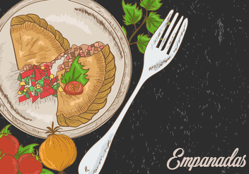 Empanadas Fried With Garnish Illustration - vector gratuit #400511