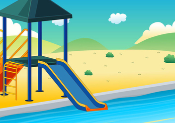 Illustration of water slide with background - Free vector #400521