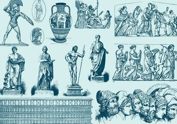 Blue Greek Art Illustrations - vector gratuit #400541