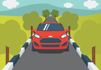 Ford Fiesta On The Road - vector gratuit #400601