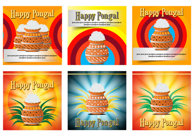Happy Pongal celebration card poster - Free vector #400811