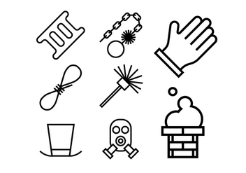 Chimney and heating coal icons set - vector gratuit #400821