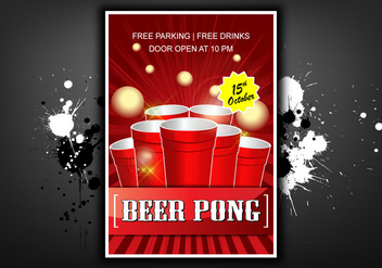 Beer pong poster illustration - Free vector #400911