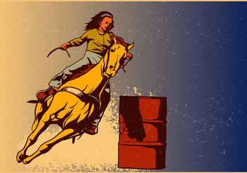 Woman Performance On Barrel Racing - Free vector #401041