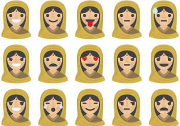 Indian Woman Emoticons - Free vector #401091