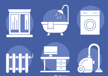 Home Appliance white Icons Vector - бесплатный vector #401241