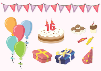 Free Sweet 16 Icons - Free vector #401261
