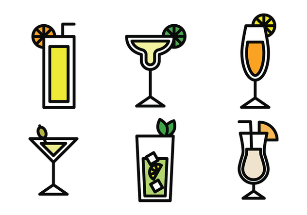 Drinks Outlined Icons - vector gratuit #401371