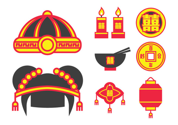 Traditional Chinese Wedding Pack - Free vector #401491