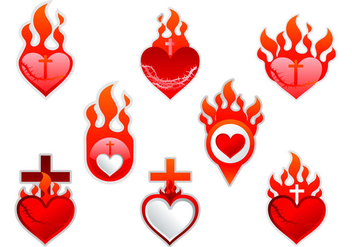 Sacred Heart label sticker - vector gratuit #401511