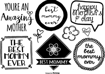 Hand Drawn Mother's Day Label Set - Kostenloses vector #401581